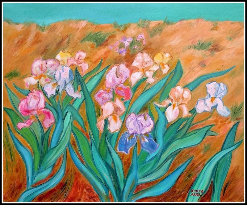 Irises with Beach