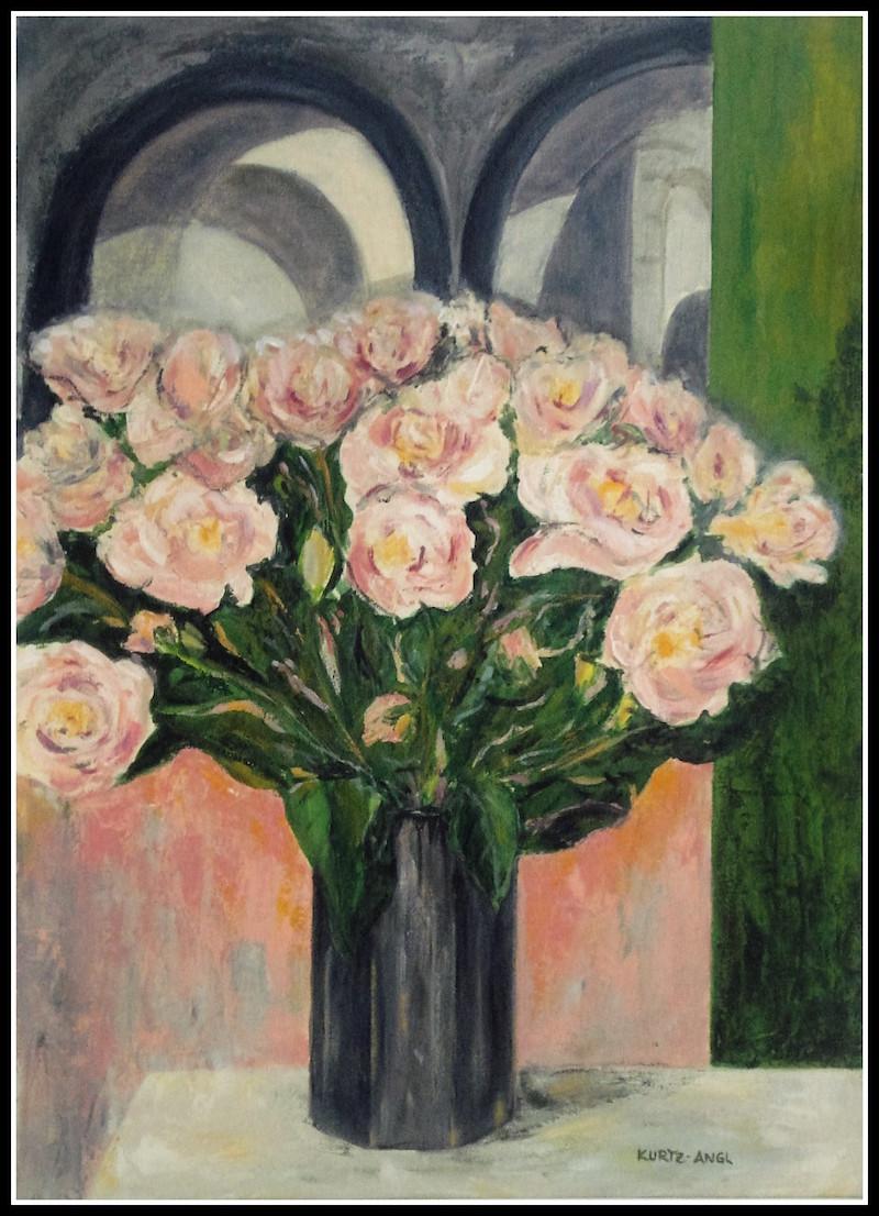 Peonies in Black Vase